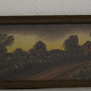 Red barn with landscape print signed Hitchcock
