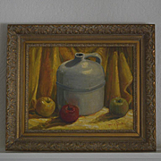 Still life oil painting with Cider jug apples by Paul A. Schmitt