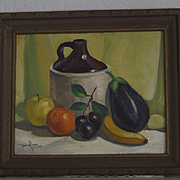 Still Life with jug eggplant & fruit by Paul A. Schmitt