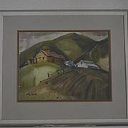 Marin county California farm watercolor by Ray Wilson
