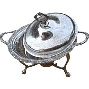 English silver plated ornate chafing dish