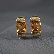 European citrines white gold & diamonds 14k earrings
