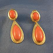 Large Italian coral & yellow gold 18k pendulum earrings