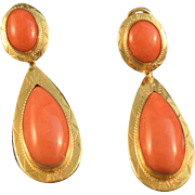 Large Italian coral & yellow gold 18k pendulum earrings