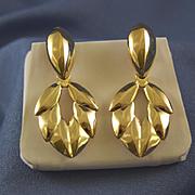 Pendulum chevron design 14k gold Italy earrings