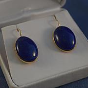 Cabochon lapis lazuli yellow gold earrings