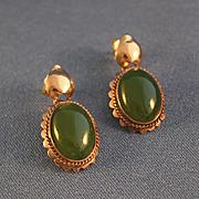 Green jade rose 14k gold pierced earrings