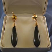 Victorian pendulum onyx & gold earrings