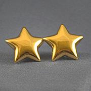 Star shaped 14k gold pierced earrings