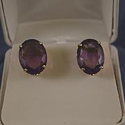 Large oval amethyst 14k gold pierced earrings