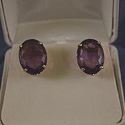 Large oval amethyst 14k gold pierced earrings