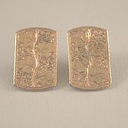 Three leaf clover engraved 10k gold pierced earrings