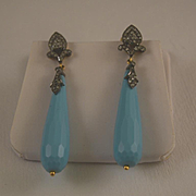 Victorian turquoise Diamond & 18k gold pendulum earrings