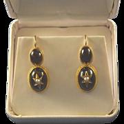 Victorian cabochon 14k gold shepherd's hook earrings