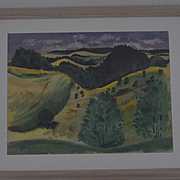 Watercolor Landscape by Jason Schoener California hills