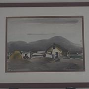 Landscape Marin county farm scene watercolor by Ray Wilson
