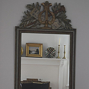 French painted lyre & music notes mirror