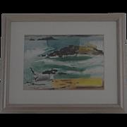 Jason Schoener watercolor & gouache beach landscape painting