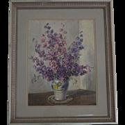 Study of Clarkia in vase  watercolor English artist Andrews