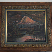 Mt Hood Oregon & Tenino Indian encampment oil painting