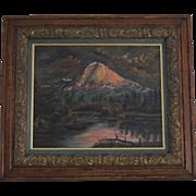 Mt Hood Oregon & Tenino Indian encampment oil painting