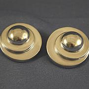 Vintage sterling silver Bayanihan large sphere earrings