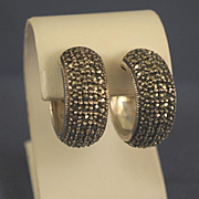 Marcasites & sterling silver hoop earrings