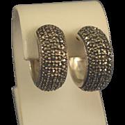 Marcasites & sterling silver hoop earrings