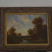 Barbizon School style landscape oil painting signed