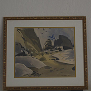 "George Post ""Laguna Cliffs"" watercolor painting"