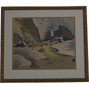 "George Post ""Laguna Cliffs"" watercolor painting"