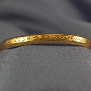 Child's engraved bangle bracelet 12k gold fill