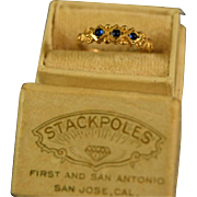 Baby ring cabochon sapphires 10k gold
