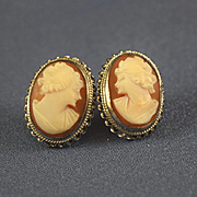 Shell cameo earrings sterling silver pierced