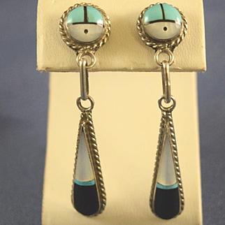 Native American Inlay pendulum earrings