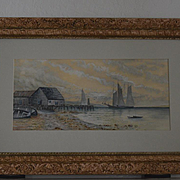 Seascape with schooner ships watercolor painting signed