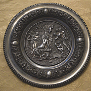 Plaque of Minerva & satyr spelter
