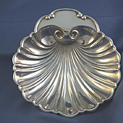 Shell shaped footed sterling silver serving dish