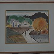 Watercolor landscape with solo figure California Ray Wilson
