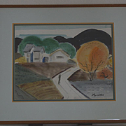 Watercolor landscape with solo figure California Ray Wilson