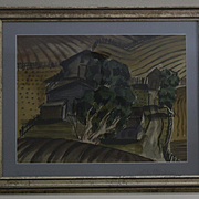California Landscape abstract watercolor farm by Ray Wilson