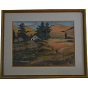 California Golden hills pastel signed painting