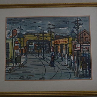 Oakland city Street California 1940's watercolor by Gerald Gleeson