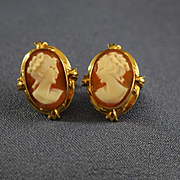 Shell cameo portrait earrings 14k gold setting 1930's