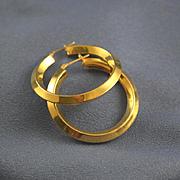 "Large hoop earrings 14k yellow gold 1 1/2"""