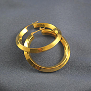 Large hoop earrings 14k yellow gold 1 1/2""