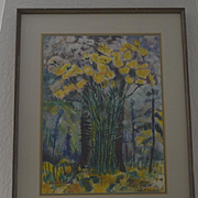 """Elsie Pomeroy """"Yellow Flowers"""" goache watercolor Modernist painting"""