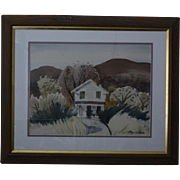Ray Wilson California farmhouse landscape watercolor