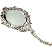 Antique Victorian Sterling Silver Hand Mirror - 1899 - Serenading Scene