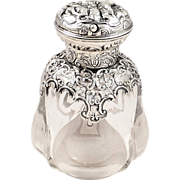 Antique Victorian Glass & Sterling Silver Overlay Perfume/Scent Bottle 1896